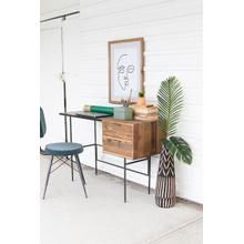 See Details - metal desk with recycled elm wood drawers