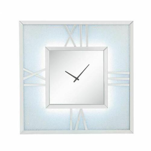 ACME Noralie Wall Clock (LED) - 97730 - Glam - LED, Mirror, Glass, MDF, Faux Diamonds (Acrylic) - Mirrored and Faux Diamonds