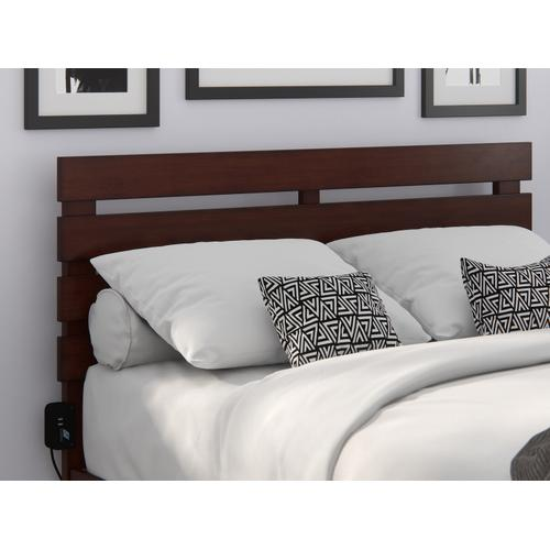 Oxford Full Headboard with USB Turbo Charger in Walnut