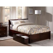 Orlando Full Flat Panel Foot Board with 2 Urban Drawers Walnut