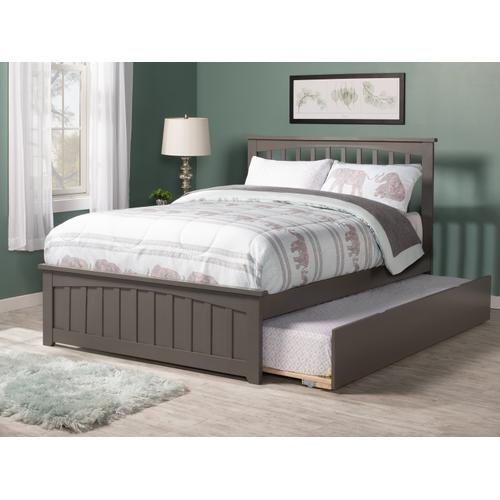 Mission Full Bed with Matching Foot Board with Urban Trundle Bed in Atlantic Grey