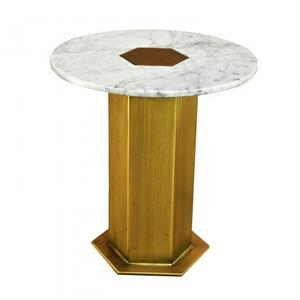 Circa Table Small/White Marble+Iron/Antique Brass Finish/18*18*20