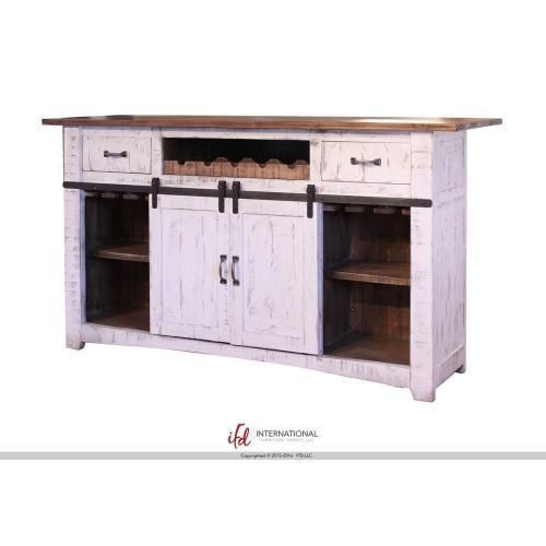International Furniture Direct - Wooden Bar Top & Base w/Iron footrest