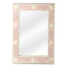 See Details - This wall mirror is the prettiest of them all. The delicate floral inlay around all four sides adds blushing beauty with white bone mosaic against a pink background.