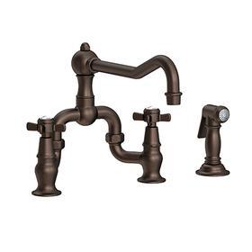 English Bronze Kitchen Bridge Faucet with Side Spray