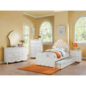 ACME Cecilie Twin Bed, Light Pink PU & White (1Set/3Ctn) - 30300T