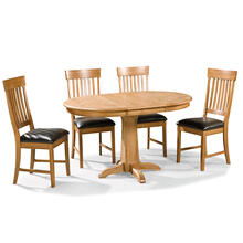 5 PIECE SET (PEDESTAL TABLE AND 4 SIDE CHAIRS)