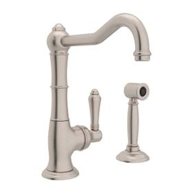 Cinquanta Single Hole Column Spout Bar and Food Prep Faucet with Sidespray - Satin Nickel with Metal Lever Handle