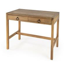 The minimalist design of this stylish desk makes it an ideal addition in any contemporary space. Crafted from acacia or pine wood solids and engineered wood products, it features two drawers with ring pulls, for a hint of glam, and ball bearing glides for easy opening and closing. Great for use in an office, living room or bedroom, and it is scaled for smaller spaces. Available in white, navy, and a natural wire brush finishes.