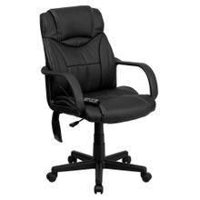 High Back Massaging Black Leather Executive Swivel Chair with Arms