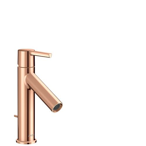 Polished Red Gold Single lever basin mixer 100 CoolStart with lever handle and pop-up waste set