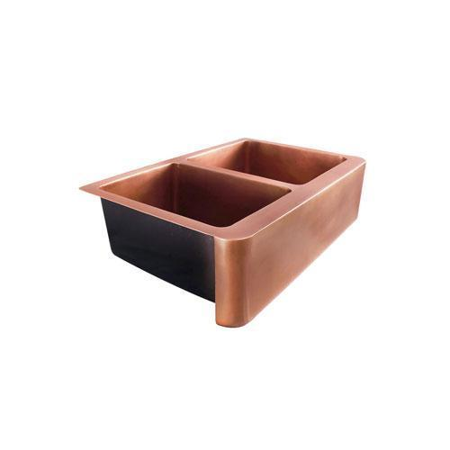 "33"" Otero Double Bowl Copper Farmer Sink"