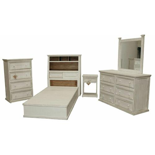 Million Dollar Rustic - Ww Jumbo Twin Platform Bed W/ Budget Case Goods