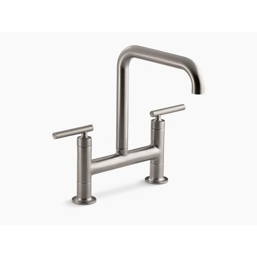 "Vibrant Stainless Two-hole Deck-mount Bridge Kitchen Sink Faucet With 8-3/8"" Spout"