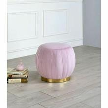 ACME Zinnia Ottoman - 96448 - Contemporary - Fabric (Velvet), Wood, Metal Leg - Pink Carnation Velvet and Gold