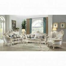 ACME Gorsedd Loveseat w/4 Pillows - 52441 - Fabric & Antique White
