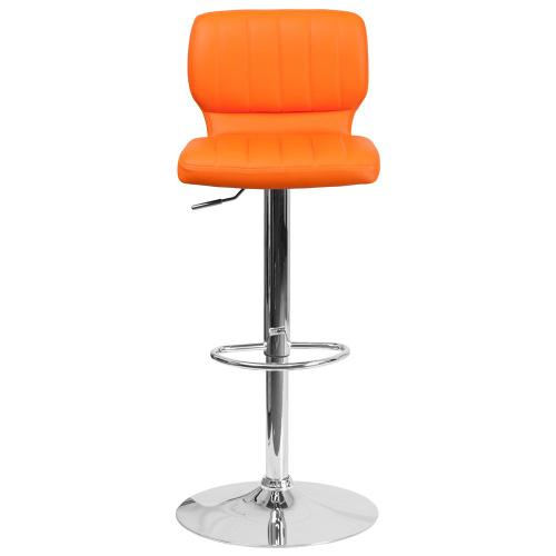 Contemporary Orange Vinyl Adjustable Height Barstool with Chrome Base