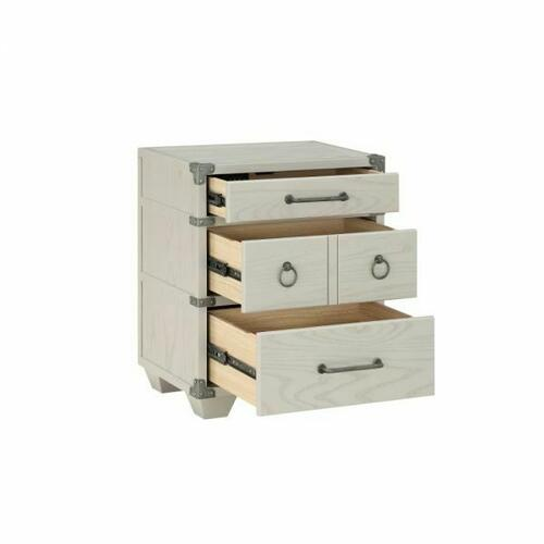 ACME Orchest Nightstand w/3 Drw - 36138 - Transitional, Industrial - Wood (Poplar/Pine), MDF - Gray