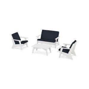 Polywood Furnishings - Riviera Modern Lounge 4-Piece Set in White / Marine Indigo