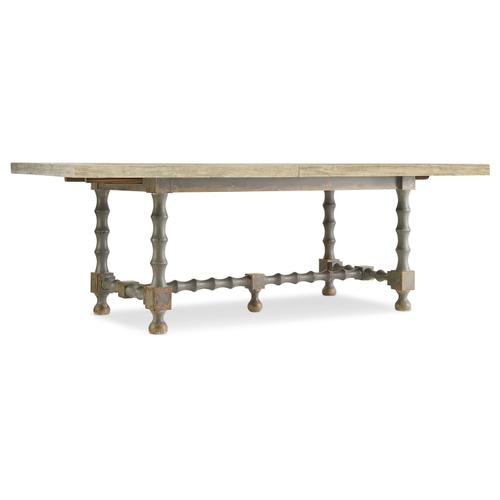 Hooker Furniture - Ciao Bella 84in Trestle Table w/ 2-18in Leaves-Flaky White/Gray