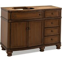 "46-1/2"" Walnut vanity base with Antique Brushed Satin Brass hardware, bead board doors, and curved front"