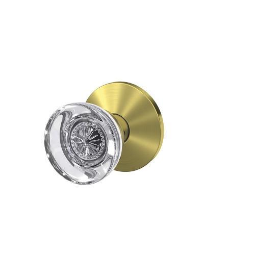 Custom Hobson Non-Turning Glass Knob with Kinsler Trim - Satin Brass