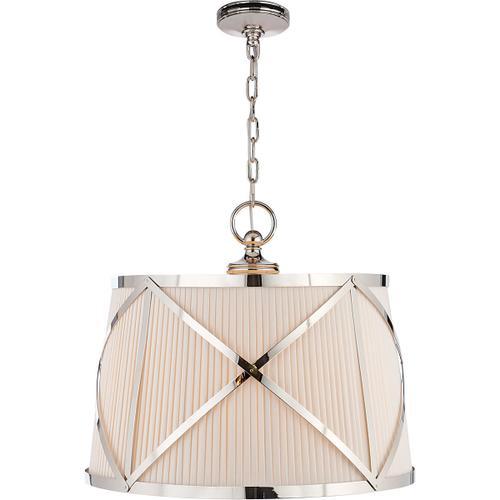 Visual Comfort - E. F. Chapman Grosvenor 3 Light 24 inch Polished Nickel Hanging Shade Ceiling Light