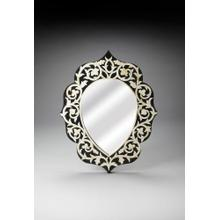See Details - This magnificent Wall Mirror features sophisticated artistry and consummate craftsmanship. The botanic patterns covering the piece are created from white bone inlays cut and individually applied in a sea of black by the hands of a skillful artisan. No two