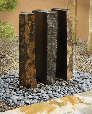 Outdoor Fountain: Triple Basalt Fountains (sets of 3) 39 Inch Height Product Image