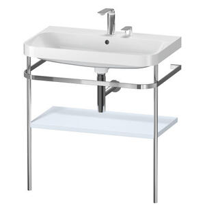 Furniture Washbasin C-shaped With Metal Console Floorstanding, Light Blue Satin Matte (lacquer)