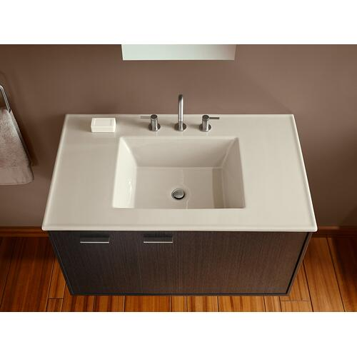 "White 37"" Rectangular Vanity-top Bathroom Sink With 8"" Widespread Faucet Holes"