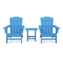 View Product - Wave 3-Piece Adirondack Chair Set with The Crest Chairs in Pacific Blue