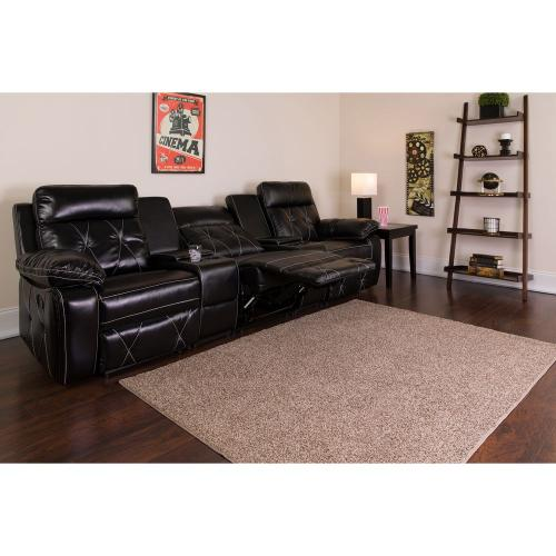 3-Seat Reclining Black Leather Theater Seating Unit with Straight Cup Holders