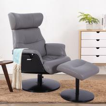 Stockholm Recliner & Ottoman in Steel Air Leather