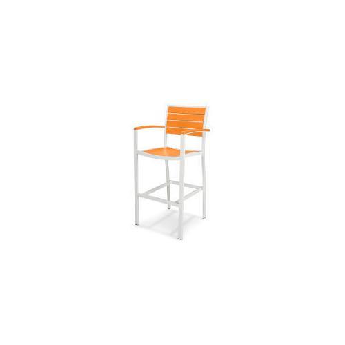 Polywood Furnishings - Eurou2122 Bar Arm Chair in Satin White / Tangerine
