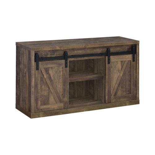 48-Inch 3-Shelf Sliding Doors TV Console Rustic Oak      (723271,53029)