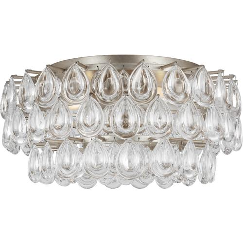 AERIN Liscia 4 Light 19 inch Burnished Silver Leaf Flush Mount Ceiling Light, Medium