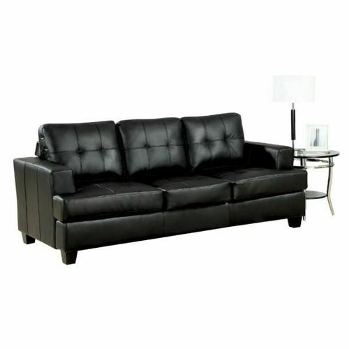 ACME Platinum Sofa w/Queen Sleeper - 15061 - Black Bonded Leather