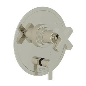 Lombardia Pressure Balance Trim with Diverter - Polished Nickel with Cross Handle