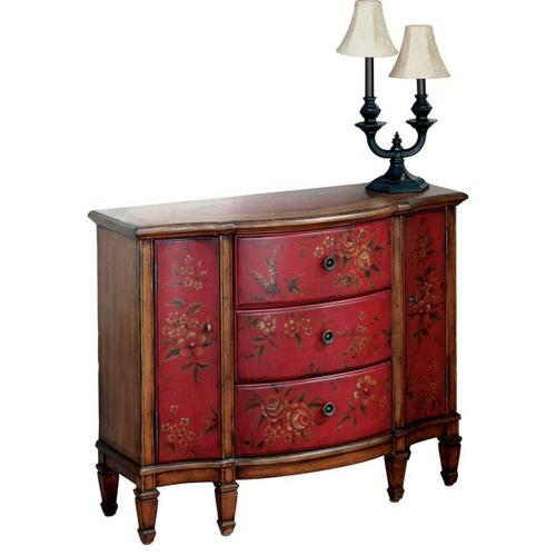 Butler Specialty Company - Decorative hand painted design on select hardwoods and wood products. Three felt line drawers with dovetail construction on a center wood glide. Two side doors. Antique brass finished hardware.