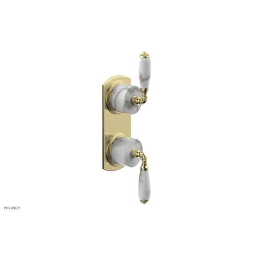 Phylrich - VALENCIA - Thermostatic Valve with Volume Control or Diverter, White Marble Lever Handles 4-453B - Polished Brass