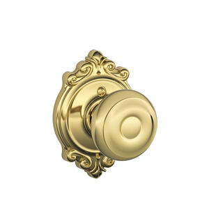 Georgian Knob with Brookshire trim Non-turning Lock - Bright Brass Product Image