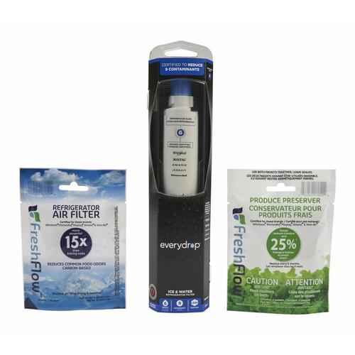 KitchenAid - Everydrop® Refrigerator Water Filter 6 - EDR6D1 (Pack Of 1) + Refrigerator FreshFlow™ Air Filter + FreshFlow Produce Preserver Refill - Multi-Pack