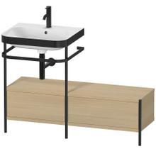Furniture Washbasin C-bonded With Metal Console Floorstanding, Mediterranean Oak (real Wood Veneer)
