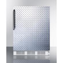 ADA Compliant Built-in Undercounter All-refrigerator for Residential Use, Auto Defrost With Diamond Plate Wrapped Door, Towel Bar Handle, and White Cabinet