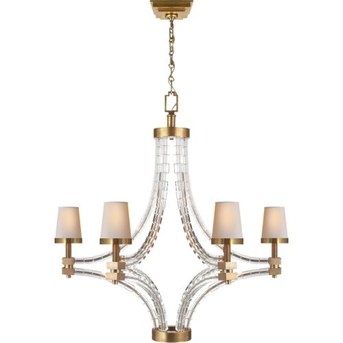 Visual Comfort - E. F. Chapman Crystal Cube 6 Light 35 inch Antique-Burnished Brass Chandelier Ceiling Light