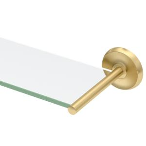 Designer II Glass Shelf - Solid Brass in Brushed Brass Product Image