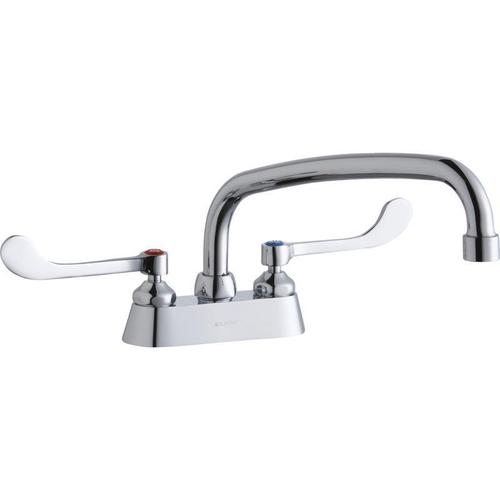 """Elkay 4"""" Centerset with Exposed Deck Faucet with 12"""" Arc Tube Spout 6"""" Wristblade Handles"""
