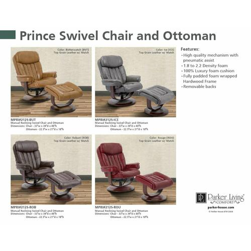 Parker House - PRINCE - ICE Manual Reclining Swivel Chair and Ottoman