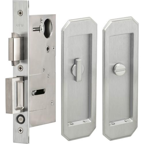 Pocket Door Lock with Traditional Trim featuring Turnpiece and Emergency Release in (US26D Satin Chrome Plated)